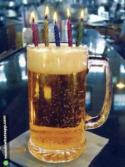 Feliz aniversário com cerveja - Status e Imagens